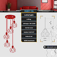 Підвісна люстра на 5 ламп RUBY-5G E27 на круглій основі, червоний, фото 2