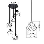 Підвісна люстра на 5 ламп RUBY-5G E27 на круглій основі, червоний, фото 3