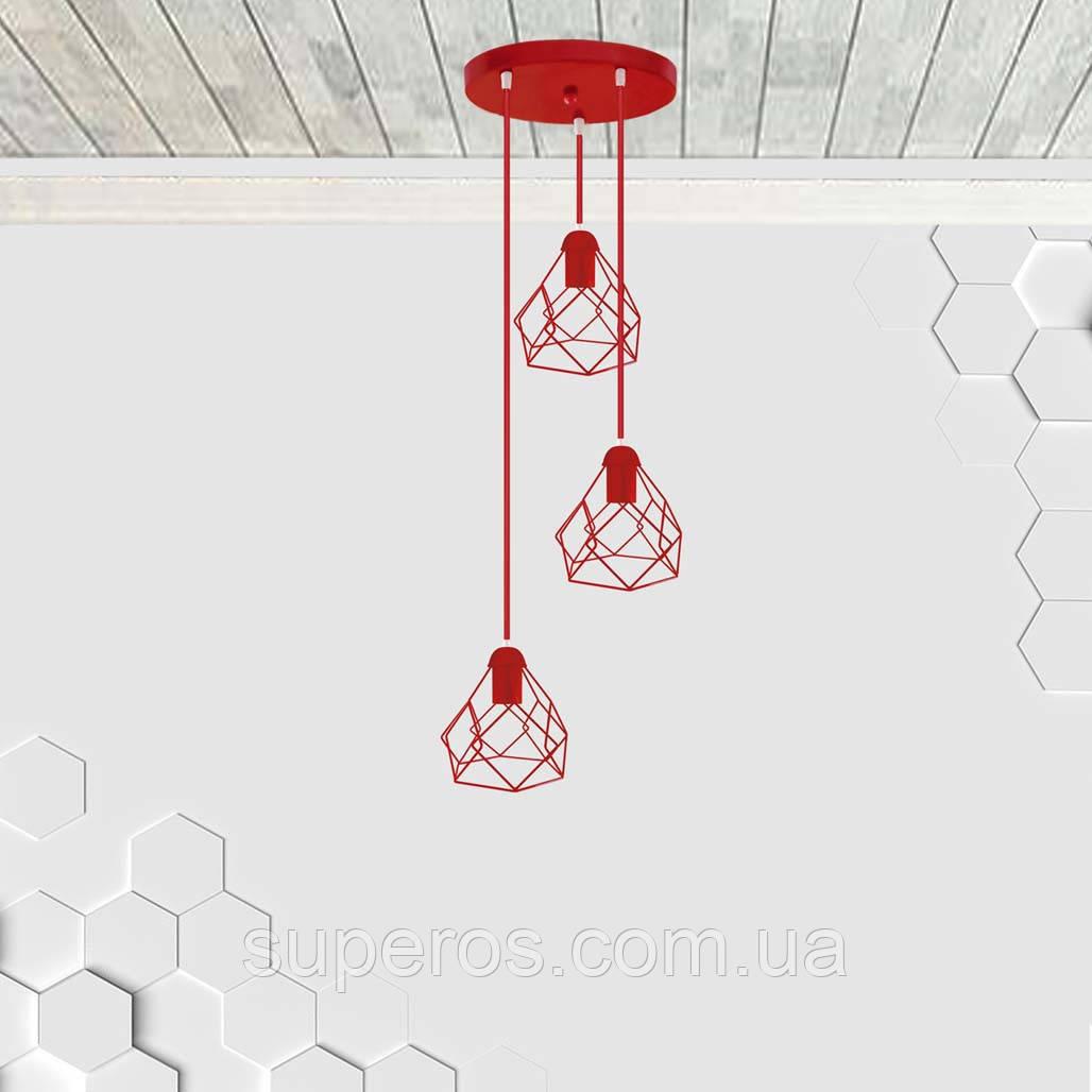 Подвесная люстра на 3-лампы RUBY-3G E27 на круглой основе, красный