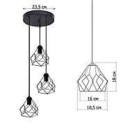 Подвесная люстра на 3-лампы RUBY-3G E27 на круглой основе, красный, фото 3
