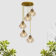Подвесная люстра на 5-ламп SKRAB-5G E27 на круглой основе, золото, фото 2