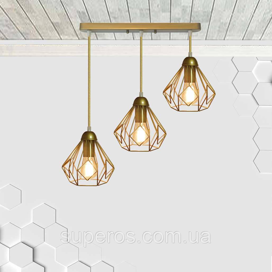 Підвісна люстра на 3-лампи SKRAB-3 E27 золото