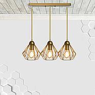 Підвісна люстра на 3-лампи SKRAB-3 E27 золото, фото 2