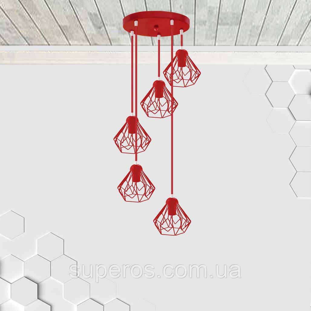 Підвісна люстра на 5 ламп SKRAB-5G E27 на круглій основі, червоний