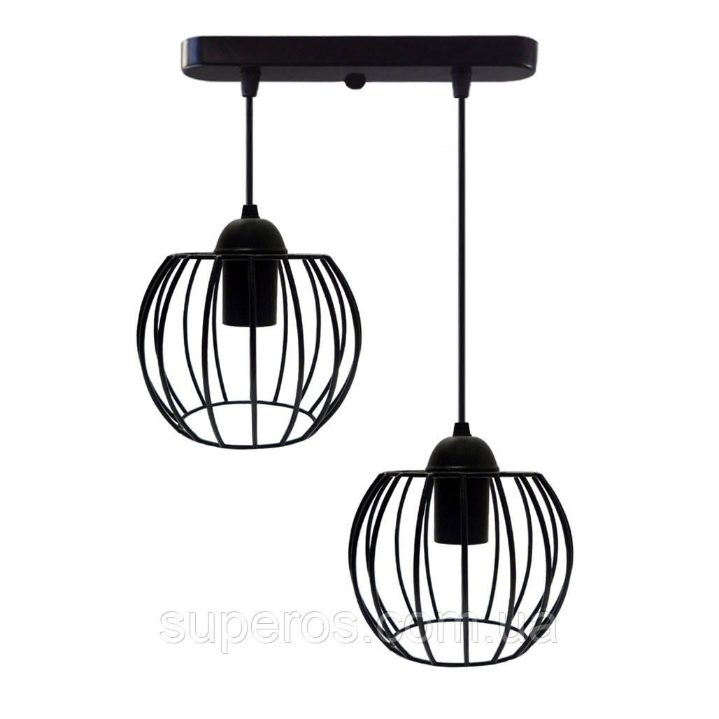 Підвісна люстра на 2-лампи BARREL-2 E27 чорний