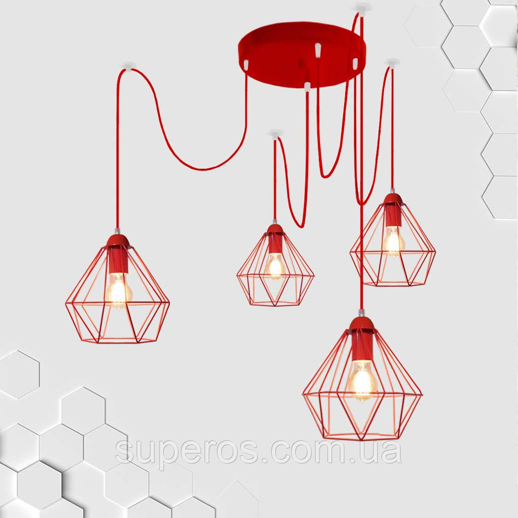 Подвесная люстра на 4-лампы CLASSIC/SP-4R E27 красный