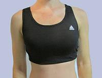 Женский тренировочный топ Adidas черный с белым (6004)  код 58д