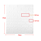 Декоративная 3D панель самоклейка под черно-оранжевый кирпич 700x770x5мм, фото 5