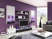 Мебельная стенка Cama II белый / белый и черный глянец