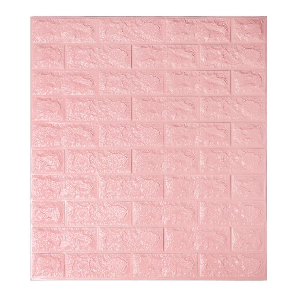 Декоративна 3D панель самоклейка під цеглу Рожевий 700х770х5мм