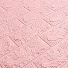 Декоративна 3D панель самоклейка під цеглу Рожевий 700х770х5мм, фото 2