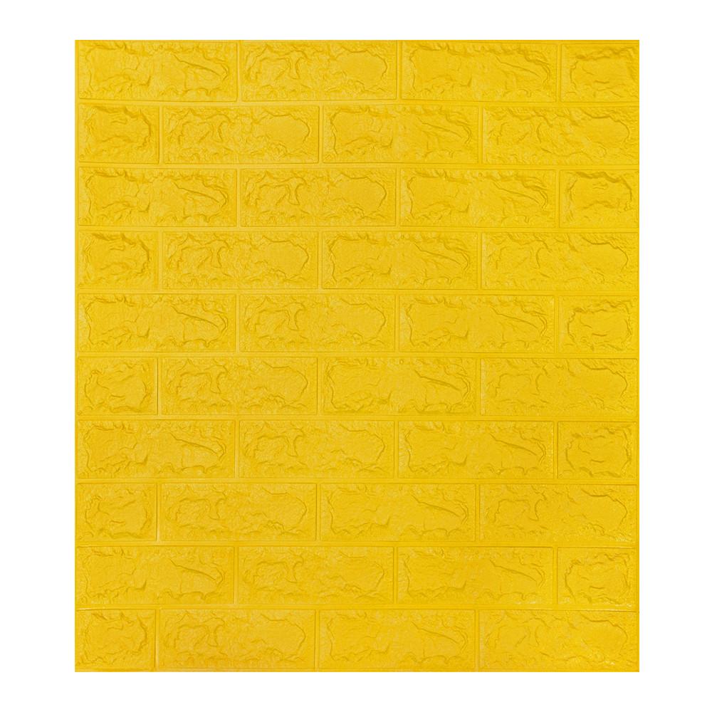 Декоративна 3D панель самоклейка під цеглу Жовтий 700х770х7мм