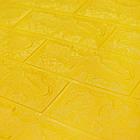 Декоративна 3D панель самоклейка під цеглу Жовтий 700х770х7мм, фото 3