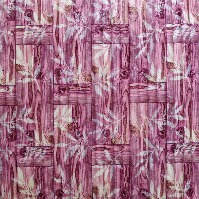 Самоклеюча декоративна 3D панель бамбукова кладка рожева 700х700х8мм