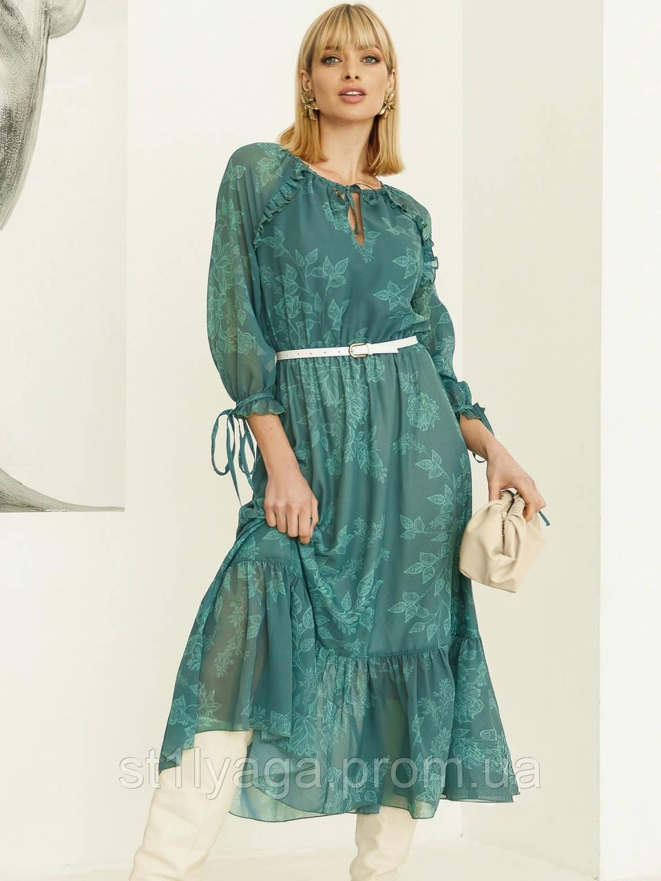 Шифоновое платье-миди с принтом и воланом по низу зелёное