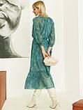 Шифоновое платье-миди с принтом и воланом по низу зелёное, фото 6
