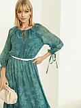 Шифоновое платье-миди с принтом и воланом по низу зелёное, фото 3