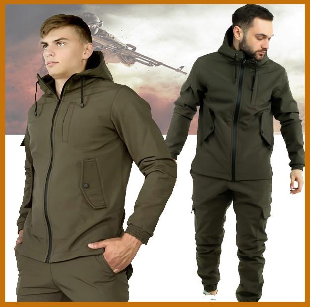Мужская куртка софтшел с капюшоном, комплект демисезонный Softshel + Ключница