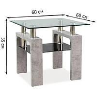 Квадратный кофейный стол из стекла Signal Lisa D 60x60x55см с тонированной полкой на каркасе под бетон