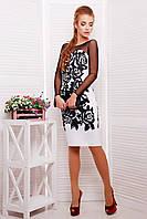 Черно-белое платье с рукавами из сетки Черные розы