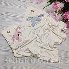 Детское полотенце-уголок для купания / полотенце с капюшоном / детское полотенце с уголком 90х90 см, фото 3