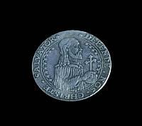 Монета 1577 года осадный талер Стефан Баторий Гданьск  Польша, копия в серебре №503 копия