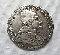 Монета 1676 года Иннокентий XI Скудо, изг. Джованни Мартино Хамерани,копия в серебре №505 копия