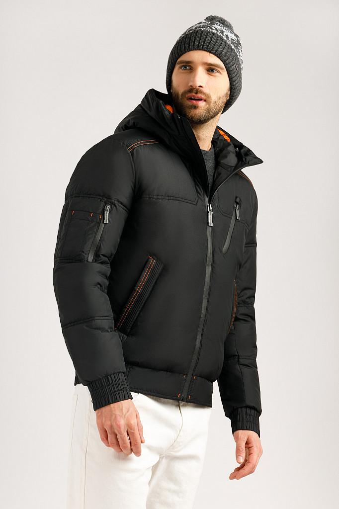 Мужская зимняя куртка Finn Flare W19-22024-200 короткая черная