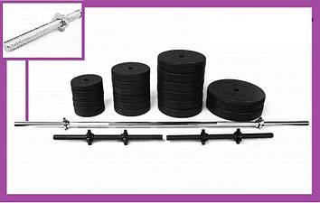 Разборная штанга для дома на 81 кг, Гантели и штанги стальные для фитнеса, Штанги грифы диски металлические