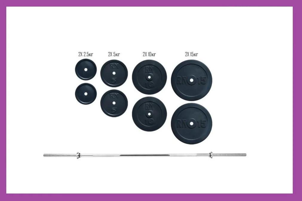 Розбірна штанга для будинку на 72 кг, Гантелі та штанги сталеві для фітнесу, Штанги грифи диски металеві