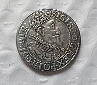 Орт 1615 Зигмунт III портрет короля-герб Гданьска, копия в серебре №511 копия