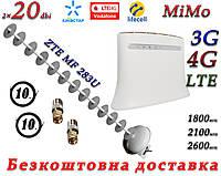 Полный комплект ZTE MF 283U + 3G/4G/LTE антенной MiMo Стрела 1700-2170 МГц (Пушка) с усилением 20 дБ