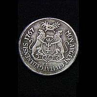 Талер 1767 г. Станислав Август, копия серебряной монеты №517 копия, фото 1