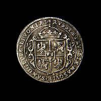 Талер 1587 г. Польша-Литва Сигизмунд III Ваза, реплика в серебре №523 копия, фото 1