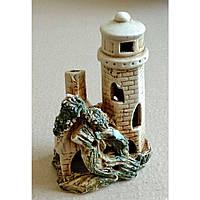 Декорация для аквариума керамическая Маяк с домиком, 10х15 см