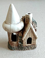 Декорация для аквариума керамическая Домик с башней, 10х6х10 см