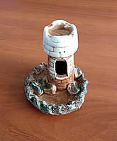 Декорация для аквариума керамическая Башня на острове 8 х 12 см