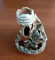 Декорація для акваріума керамічна Башточка з човном 10х10 см