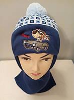 Комплект вязаный зимний шапка шарф мальчик.