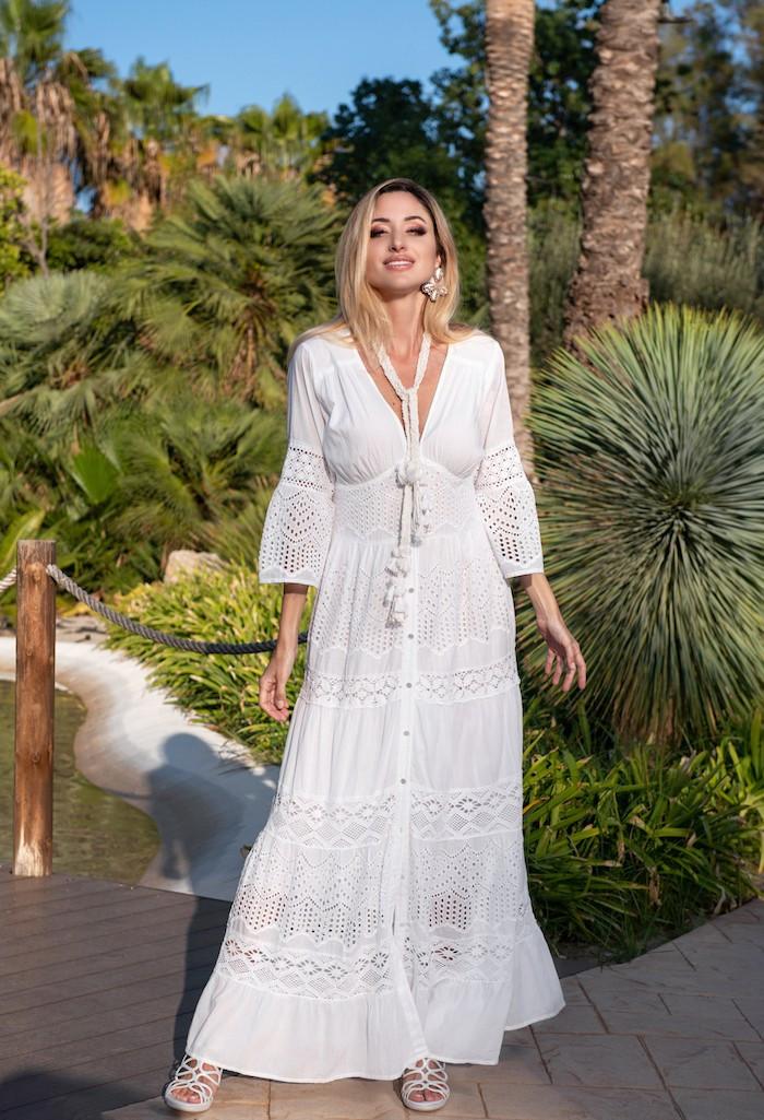 Длинное кружевное платье на пуговицах Fresh Cotton 21F-044C 46(L) Белый