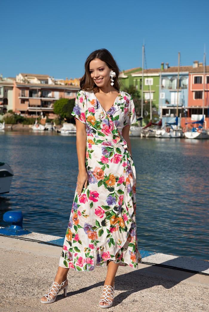 Indiana / Длинное платье с завязкой на запах Indiano 21NI-367/1 V 44(M) Цветной