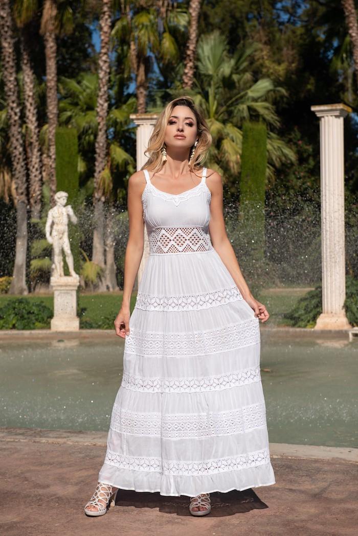Длинное кружевное платье Fresh Cotton 21F-021C 44(M) Белый