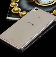 Чехол силиконовый ультратонкий для Sony Xperia Z3 D6603 прозрачный с черным оттенком