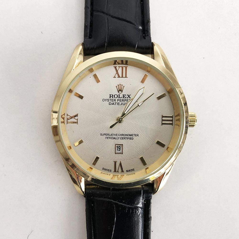 Годинники наручні Rolex White ремінець чорний