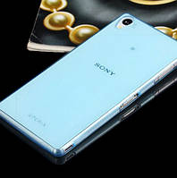 Чехол силиконовый ультратонкий для Sony Xperia Z3 D6603 прозрачный с синим оттенком