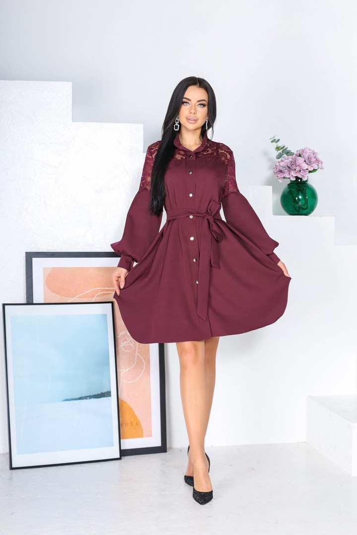 Жіноче плаття, костюмка + гіпюр, р-р 42-44; 46-48 (марсала)
