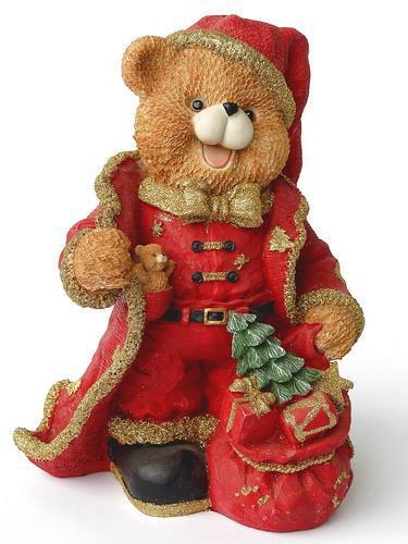 Декоративна фігурка - Ведмідь з подарунками, 10 см, червоний з коричневим, полістоун (950729)