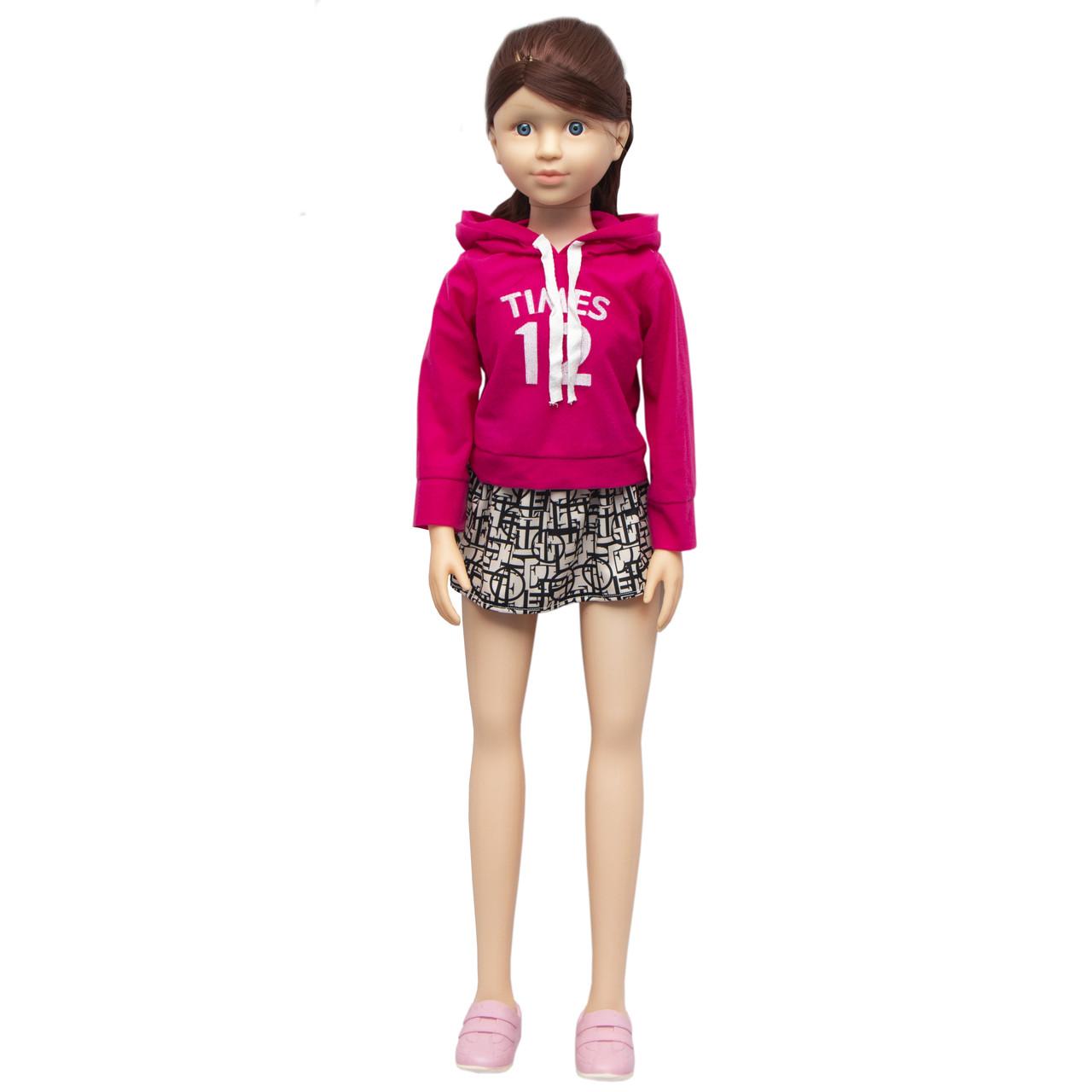 Большая ходячая кукла классическая, 100 см, в розовой толстовке и с темными волосами (sum950058)