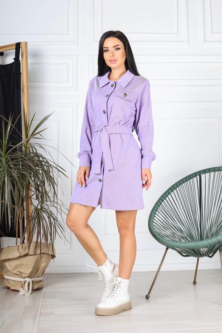Женское платье, вельвет, р-р 42-44; 46-48; 50-52 (лиловый)