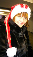 Новогодняя шапка Взрослая Деда Мороза Колпак Санта Клауса Santa Claus красная удлиненная с бантом ., фото 1